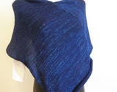 Blue poncho with blue glitter yarn,blend wool,hand knit,soft and warm poncho,woman accessory