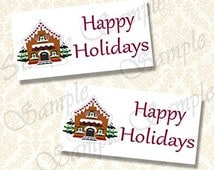 Printable Treat Bag Toppers, Happy Holidays Gingerbread House Goody Bag Topper, Instant Download Favor Bags Labels