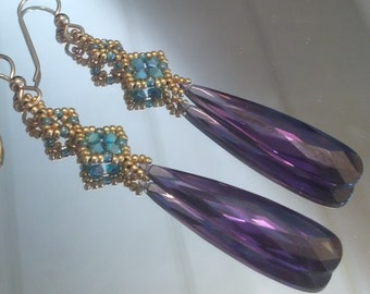 Designer Earrings   Purple Cubic Zirconia   Gold Turquoise Beadwoven   Gold-filled earwires