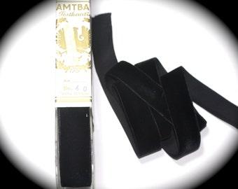 "Velvet Ribbon - 2 yds x 1"", Black - Rayon - Soft"