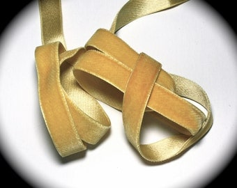 """Velvet Ribbon, Cotton,Rayon & Silk - 5/8""""  -Yellow/Hint of Yellow Gold - Made in France -Cotton, Rayon and Silk Vintage Velvet Ribbon"""