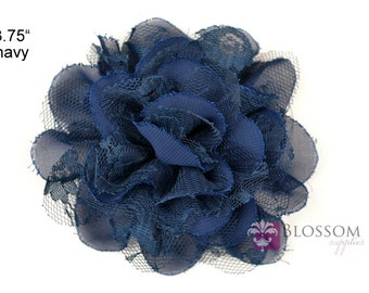 NAVY BLUE Flowers - The Charlotte Collection - Small Shabby Chiffon and Lace Puff Flowers - DIY Headbands - Fabric Flower Head Blossoms