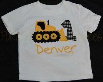 Boys Custom Bulldozer Birthday T-Shirt with FREE Personalization