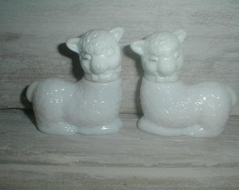 Two Vintage Avon Milk Glass Lambs *Sweet Babies*