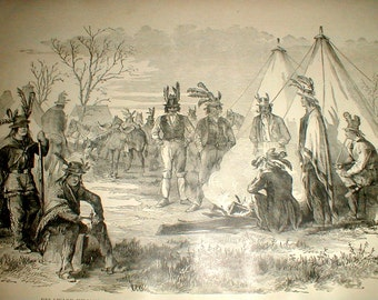 Delaware Indians As Scouts For Federal Army *Civil War* Antique Book Page *Original Piece*