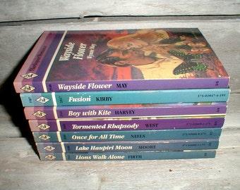 7 Harlequin Books *Purple Lavender Blue* Cottage Chic Romantic Decor