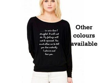 Jane Austen T-shirt, Mr Darcy's Proposal, Pride & Prejudice, Off Shoulder Long Sleeve Slouchy, Black or Grey Top, UK