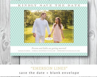 Emerson Lines Printed Save the Date | Wedding Save the Date Invitation | Printed or Printable by Darby Cards