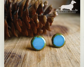 Sea Glass. Post Earrings -- (Turquoise, Green, Blue, Small, Simple, Modern, Minimalist, Neon, Blue Studs, Vintage Style, Cute Gift Under 15)