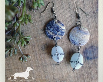 Over the Moon. Dangle Earrings -- (Vintage-Style, Mint Green, Vintage Blue, Shells, Stone, Shabby Chic, Unique, OOAK, Gift for Her Under 10)