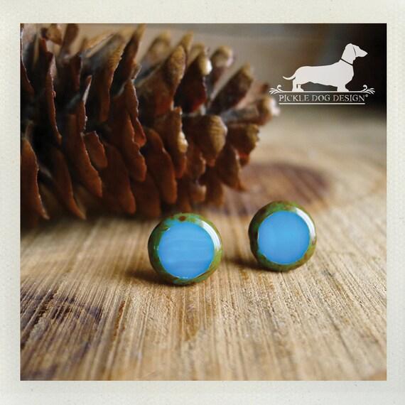 Sea Glass. Post Earrings