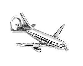Sterling Silver Airplane Charm (3d Charm)