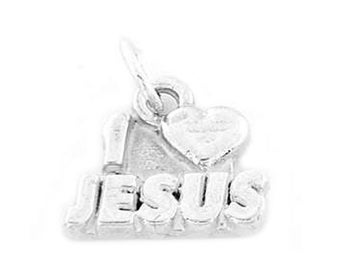 Sterling Silver I Love Jesus Charm (One Sided Charm)