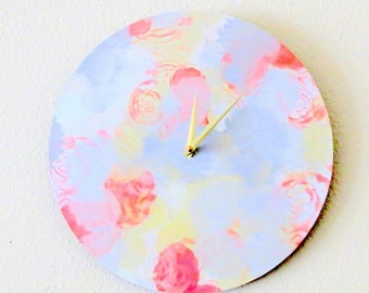 Wall Clock, Home Decor, Decor and Housewares, Home and Living,  Pastel Colors, Unique Clock, Trending Colors