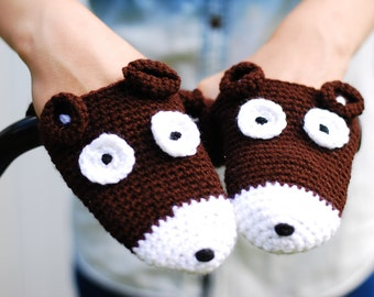Bear bike handwarmers for adults and teens, birthday gift, bear crochet bicycle gloves, cycling, gift for bike riders