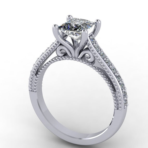 princess cut moissanite and diamonds engagement ring in 14k