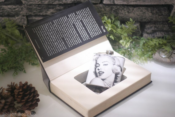 Hollow Book Safe and Marilyn Monroe Hip Flask - Marilyn Monroe