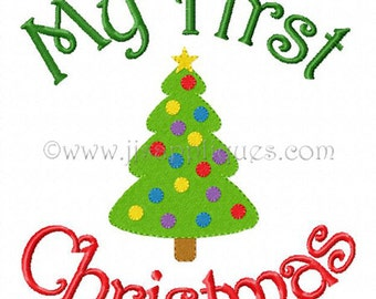 Instant Download - Christmas Embroidery Designs My First Christmas with fill Decorated Tree  4x4, 5x7, 6x10 hoop sizes