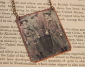 Feminist  necklace Julliet Gordon Low Girl Scouts founder  mixed media jewelry