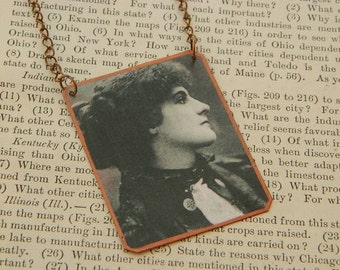 Writers necklace or pendant Olivia Shakespear Literature jewelry mixed media jewelry
