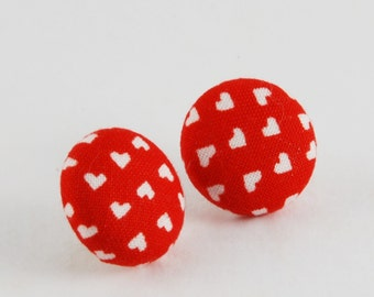 Red Fabric Button Earrings - Tiny Hearts Red Earrings - Red Heart Earrings
