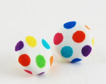 Birthday Party Earrings - Polka Dot Cover Button Earrings - Fabric Covered Earrings