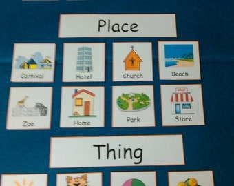 Nouns - Grouping, Sorting: Person, Place or Thing, LAMINATED, Parts of Speech, Educational Toy, Waldorf, Montessori, Homeschool, First Grade