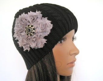 Black Cable Knit Beanie  with a Gray Flower and Matching Black Accent Winter Hat and Accessories