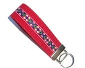 ON SALE Key Fob/Key Ring - Wristlet Design - Red Cotton Webbing - UK Seller