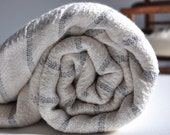 Turkish Bath Towel Hand Loomed Bamboo Peshtemal Towel Grey Striped Pure Soft