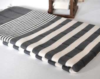 Turkish Towel Peshtemal Towel Woven Black ivory striped for Bath and Beach