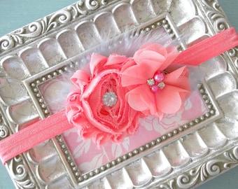 Coral Rhinestone Flower Baby Headband= Baby Feather Headband - Baby Photo Prop - Toddler Headband