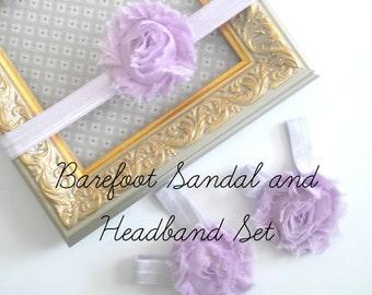 Baby Barefoot Sandals and Headband Set