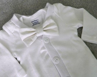 Baby Boy Cardigan Onesie Bodysuit -Blessing Outfit- Christening- Baptism- Birthday- Bow Tie- Coming Home Outfit