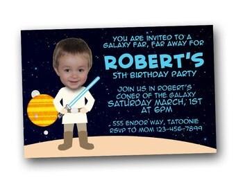 Star Wars inspired birthday invitation, digital file, printable, Luke, Darth Vader, photo invitation