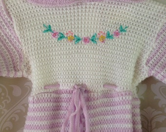 vintage knit footed sleeper for baby lilac floral peter pan collar 3-6 months