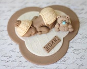 Fondant Baby Boy in Cashmere Baptism Topper Christening Topper First BIrthday Cake Topper