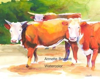 Hereford print orignal watercolor cow painting  ranch decor farmhouse decor  canvas cattle decor cattle art farm animal western decor