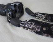 Black & Brown Floral Scarf Camera Strap