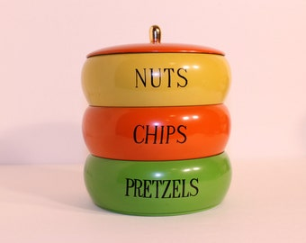 Vintage Nuts, Chips and Pretzels Container
