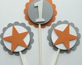 Star & Number Birthday Cupcake Toppers - Orange, Grey