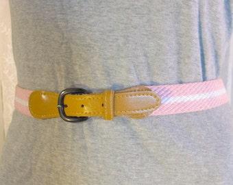 "Sale-Vintage 80's women's pink and white braided belt waist 27-28"""