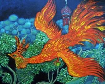 """Russian Firebird: Natural Rag Giclee Print. 8"""" x 10"""""""