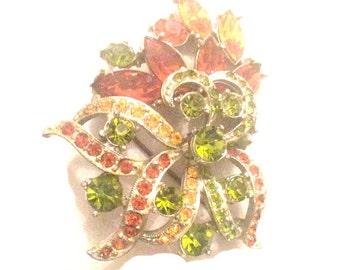 Rhinestone Flower Brooch Amber Peridot Rhinestone Signed Exquisite 1950s Vintage Jewelry