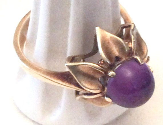 Amethyst Cabochon Ring, 14K Gold, European Gold, Victorian Vintage Jewelry, SALE