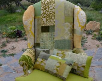 Set of 3 Green Patchwork Pillows