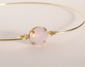 Pink opal faceted crystal bangle - Pink crystal bracelet - Bridesmaids gift - Everyday - Minimalist jewelry