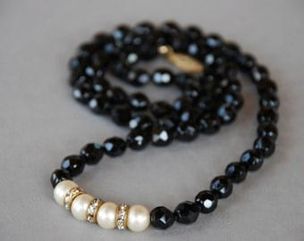 Vintage Black Glass Beaded Necklace 14/20 1/20 14K Gold Filled Clasp Faux Pearl Rhinestone Rondelles 1960's // Vintage Costume Jewelry