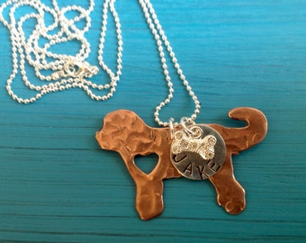 NEW Labradoodle Goldendoodle Custom Copper Necklace Dog Lover.  Personalized.  Your dogs name. Dog Jewelry.