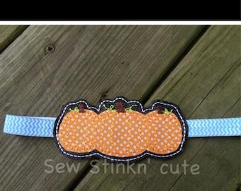 Appliqued Fall Pumpkin Elastic Headband Slider